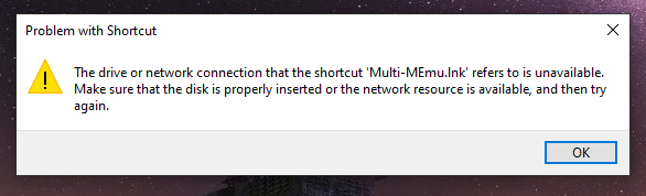"""Lỗi """"The drive or network connection that the shortcut .link refers to is unavailable"""""""
